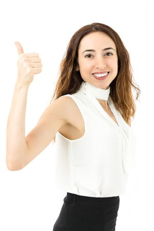 woman thumbs up: Successful business woman thumbs up