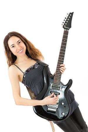 e guitar: Guitar playing girl