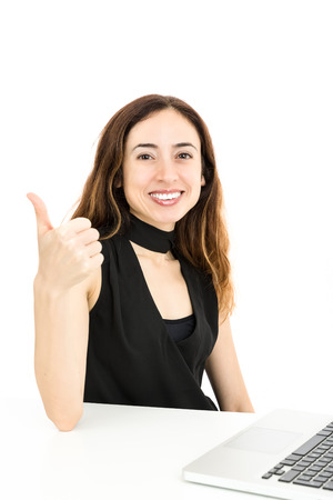 woman thumbs up: Business woman thumbs up