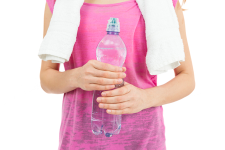 refreshment: Woman having a water bottle for a refreshment after sports