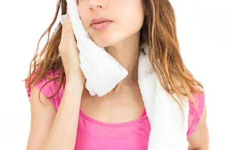 cansancio: Mujer sudorosa despu�s del deporte Foto de archivo