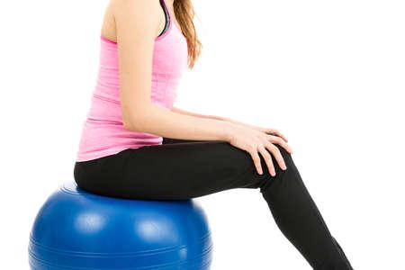 pilates ball: Woman sitting pilates ball
