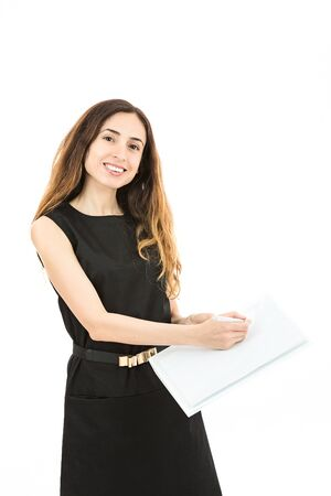 isolated sign: Caucasian business woman showing an agreement to sign. Isolated on white background.