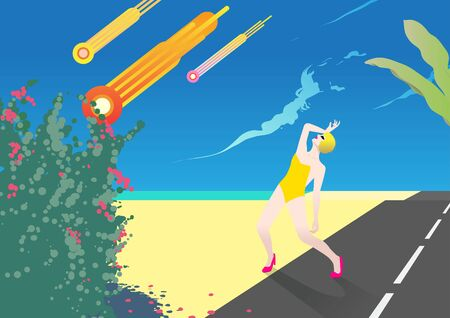 Illustration inspired by 80s style. beach summer woman and space ambient