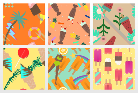 popsicle: 6 Summer style vector seamless pattern