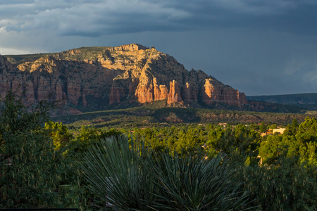 Sedona Mountains at Sunset with Clouds