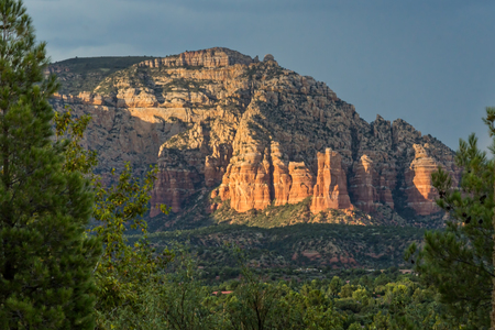 Sedona Mountains at Sunset Stock Photo