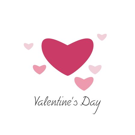 pink heart: White card with dark big pink Heart and small pink Hearts, with the inscription: Valentines Day