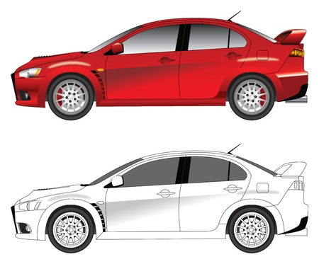 Sporty red car vector illustration