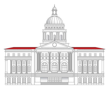 magnificent: Grand Roman-styled city hall building vector illustration Illustration