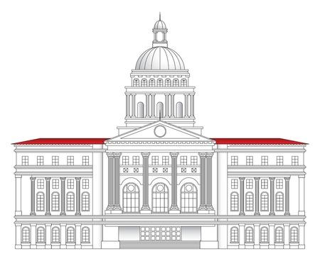 Grote Romeinse-stijl stadhuis gebouw vector illustration Stock Illustratie
