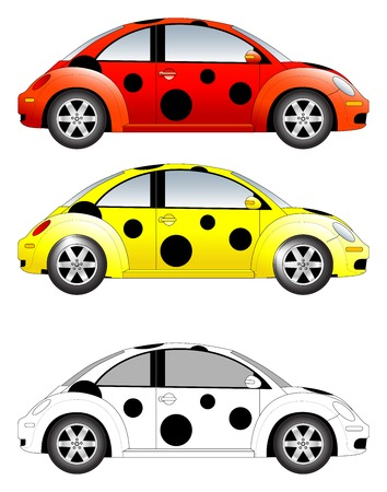 beetles: Pokka dotted car vector illustration