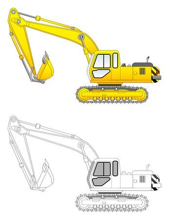 Bouw graaflaadmachines vector illustration Stock Illustratie