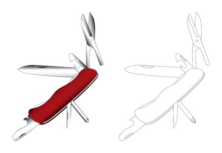 small tools: Fully opened pocket knief vector illustration