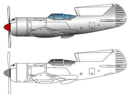 WW2 gevechtsvliegtuig vector illustration Stock Illustratie