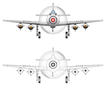 view from the plane: WW2 avi�n de combate de ilustraci�n vectorial Vectores