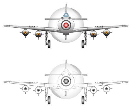vector tyre: WW2 fighter plane vector illustration