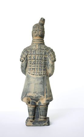 Back view of a standing terracotta worrier foot solider against a white background