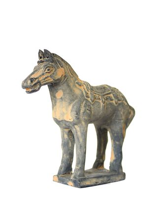 Perspective view of a standing terracotta war horse against a white background Editorial