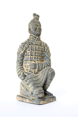 Perspective view of a kneeling terracotta warrior foot soldier against a white background