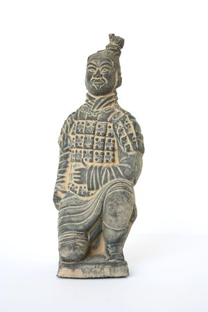 facial features: Front view of a kneeling terracotta warrior foot soldier against a white background