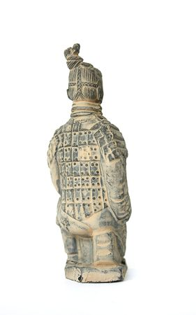 Back view of a kneeling terracotta warrior foot soldier against a white background