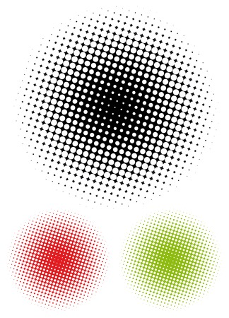pixelation: Radial gradient composed of halftone dots Illustration