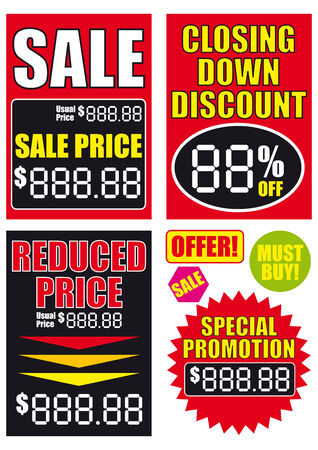 Sale signs vector illustrations Stock Vector - 4312684