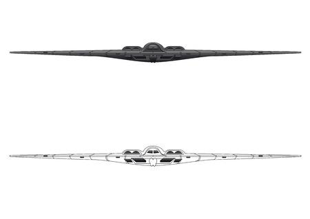 bombard: Bombardiere B-2 vista frontale illustrazione vettoriale a colori e linee
