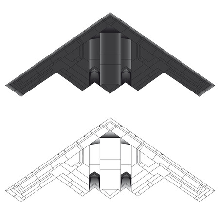 bottom line: B-2 Bomber bottom view vector illustration in colour and outline