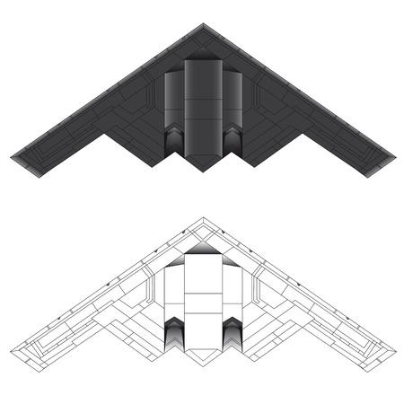 B-2 Bomber onderaanzicht vector illustratie in kleur en omtrek
