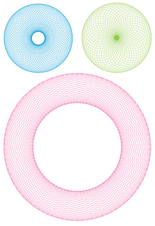 3 different types of wireframe torus rings Illustration