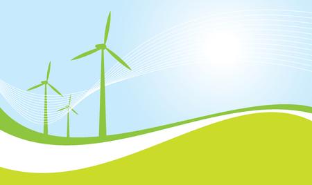 風で動く発電機壁画ベクトル イラスト