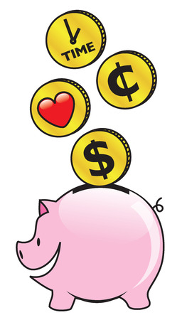 Saving time, money and love in a piggy bank Vector