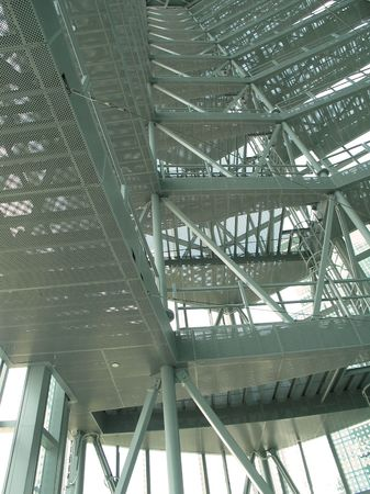 Steel viewing gallery in a commercial building