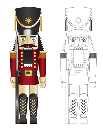 Red toy solider nut cracker with mouth open illustration