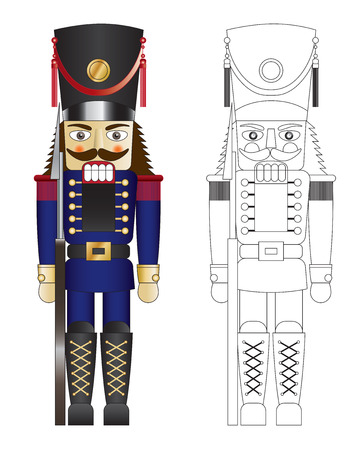 Blue toy solider nut cracker with mouth closed  illustration Illustration