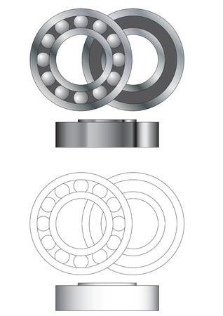 ベアリング: 玉軸受アセンブリ - 閉鎖と側面ビューを開く