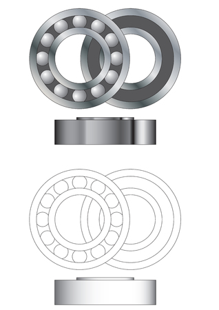 Ball bearing assembly - open closed and side view Stock Vector - 6310529