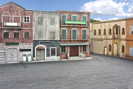 Movie set of an old italian styled town