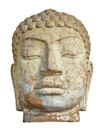 Vooraanzicht van een oude weer gedragen Boeddha hoofd ruïne