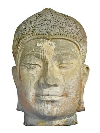 Close-up van het gezicht van een oude weer versleten steen hoofd artefact