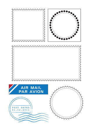 air mail: Postal stamps template vector