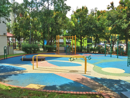 Outdoor public exercise corner in a residential estate Stock Photo