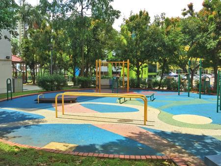exercice: Outdoor public exercise corner in a residential estate Stock Photo