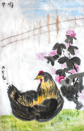 Chinese kalligrafie water kleur inkt schilderij kip kip op rijstpapier