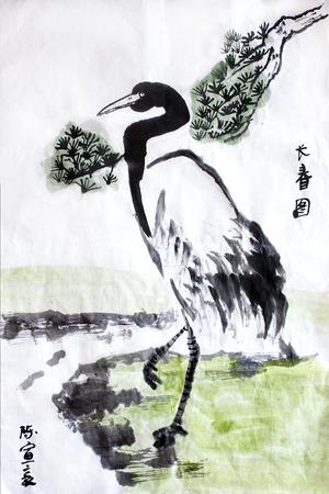 Chinese kalligrafie water kleur inkt schilderij van een kraan door de rivier op rijstpapier