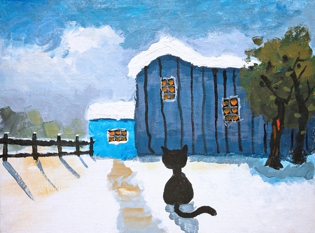 Canva painting of a snow covered farm, barn and a black cat Stock Photo