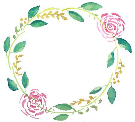 Eenvoudige waterkleur bloemenkrans