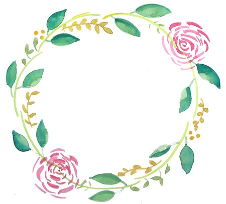 Simple water colour floral wreath
